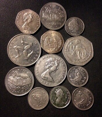Old Isle of Man/Gibraltar Coin Lot - 12 Very Low Mintage Coins - Lot #D5