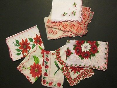 8Vtg Christmas Old Fashioned Hankies Poinsettia Scalloped FlockedCrafts Cutter