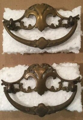 "2 Antique / Vintage Brass Metal Drawer Pulls ~ Fleur De Lis ~ 4"" X 3"" Approx."