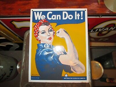 """Ande Rooney WWII Rosie The Riveter """"We Can Do It"""" WWII Poster PORCELAIN SIGN"""