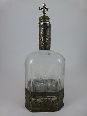 Elegant Antique GERMANY ETCHED GLASS DECANTER w/ Figural Cherub Stopper