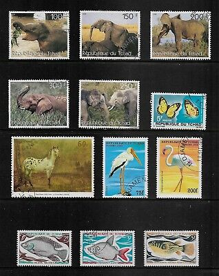 CHAD mixed collection No.3, incl Elephants Birds Fish, CTO