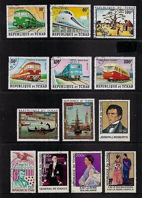 CHAD mixed collection No.4, incl Trains, Boats, used CTO