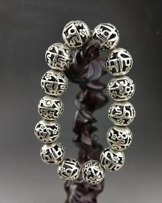 Old  Chinese Tibet silver hand engraving bracelet   /12