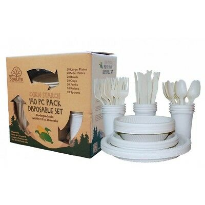 Biodegradable Corn Starch 140 PC Disposable Camping Hiking Kitchenware Set