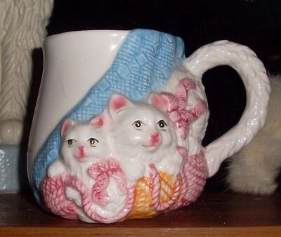 Beautiful Vintage Pmc White Cats With Wool Large Mug