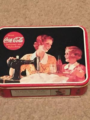 Nostalgic 50's Mother and Daughter Sewing Lessons Coca Cola Coke Tin