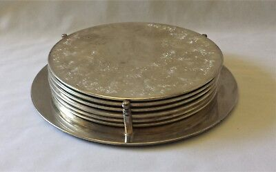 Set Of Six Vintage C1970'S Large Dinner Plate Coasters - With Original Stand