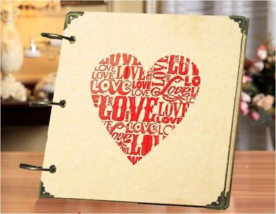 DIY 30 Black Pages 18x18cm LOVE HEART Kraft Cover 3-ring Photo Album Scrapbook