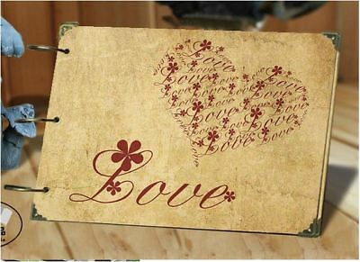 DIY 30Pages 26.8cm x 16.7cm Kraft Love Heart Photo Album Wedding Scrapbook