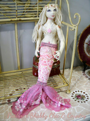 Handmade Art Mermaid Doll OOAK w pink embroidered lace tail fin & sequin lace