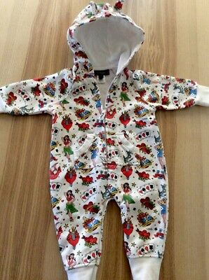 Rock Your Baby Hooded Hoody Outfit Rock Baby Boy Girl Size 0 6-12 Months Retro