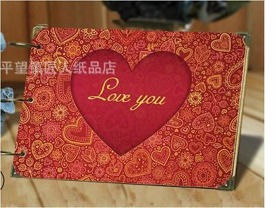 DIY 30Pages 26.8cm x 16.7cm Kraft RED LOVE Photo Album Wedding Scrapbook