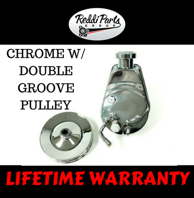 BBC SBC Chevy Chrome Saginaw Style Power Steering Pump w/ Double Groove Pulley