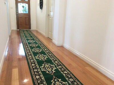 Hallway Runner Hall Runner Rug Traditional Green 5 Metres Long 53171