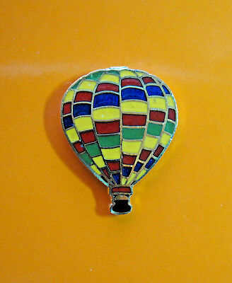 HOT  AIR  BALLOON  - hat pin , tie tac , lapel pin (staggered stripes) GIFT BOXD