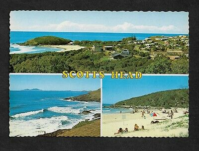 Souvenir POSTCARD Scotts Head NSW, Beach, 3 scenes on 1 card