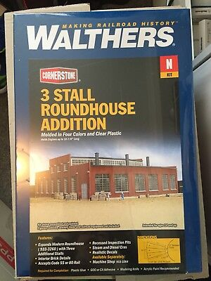 N Scale Walthers Cornerstone 3 Stall Roundhouse Addition