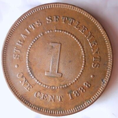 1888 STRAITS SETTLEMENTS CENT - Rare Key Coin - FREE SHIP WORLDWIDE - HV22
