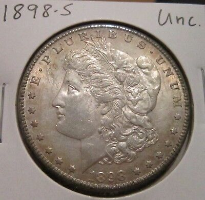 1898-S Morgan Silver Dollar Uncirculated Chest Feathers Rare High Grade Us Silve