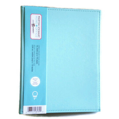 "Martha Stewart Home Office Smooth-Finish Binder Teal Blue 1"" Gap-Free 3-Ring"