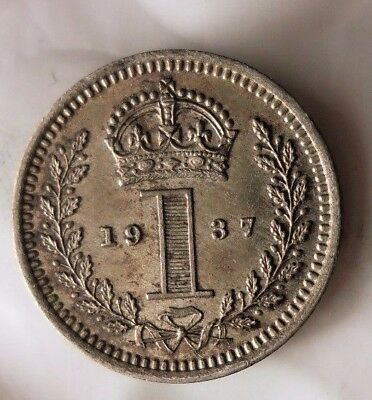 1937 GREAT BRITAIN PENNY - AU Prooflike - 1,329 Minted - FREE SHIP - HV22