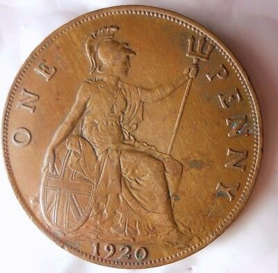 1920 GREAT BRITAIN PENNY - Great Vintage Coin - FREE SHIP - HV22