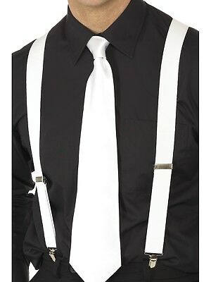 Costume Fancy Dress Gangster 1920s Hollywood White Braces Suspenders