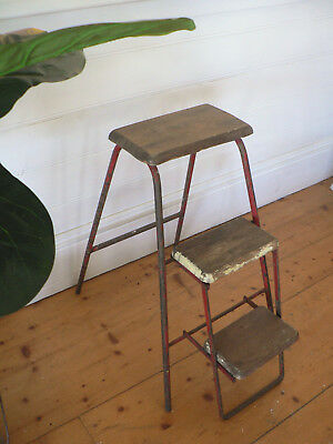 industrial vintage step stool ladder original condtion - rare collectable