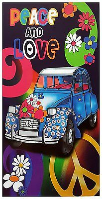 Badetuch, Strandtuch, Handtuch - Peace and Love - Auto - Flower Power 140x70 cm