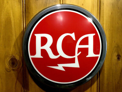 """RCA Domed Light Up 12"""" old chrome LED Studio Sign Including Mounting Template"""