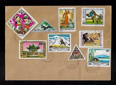 MONGOLIA Envelope, Cover, mixed collection of stamps, cancelled