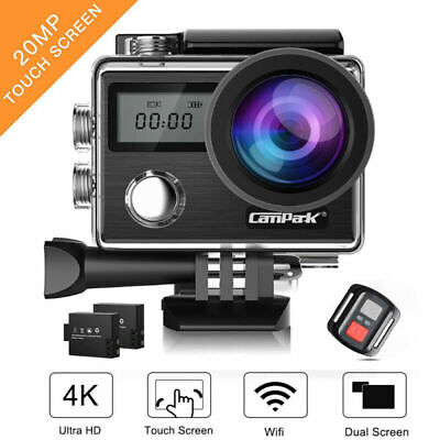 Campark 4K Action Camera WiFi Touch Screen 20MP SONY Sensor Sports Cam Dual LCD