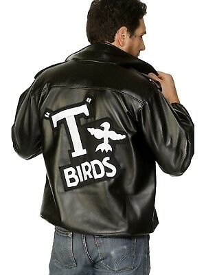 Mens Licensed T-Birds Gang Jacket 1950 50s Black Grease Danny Costume