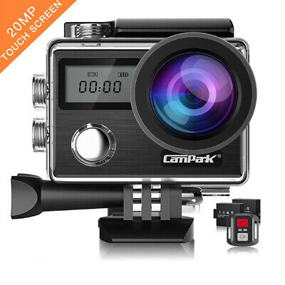 Campark X20 Touch Screen Action Sport Camera WiFi HD 4K 20MP Dual LCD Waterproof