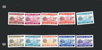 GUERNSEY POSTAGE DUE PART SET 1/2p TO 15p 10 STAMPS MNH