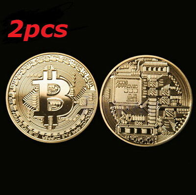 Gold Plated Bitcoin Coin Collectible Gift BTC Iron Coin Collection Pack of 2