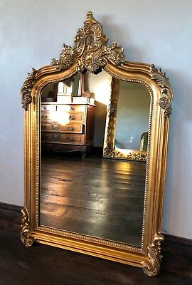 Antique Gold Large French Ornate Over Mantle Statement Scroll Arched Top Mirror