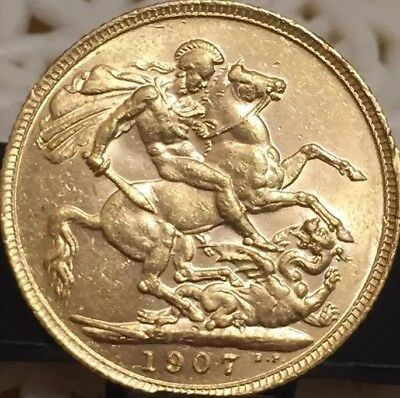1907 Great Britain Full Sovereign Gold Coin quality Memory history edwardvs VII