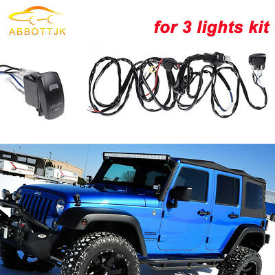 ROOF LED LIGHT BAR Waterproof LED Laser Rocker Switch + Wiring Kit FOR Jeep