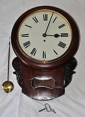 Antique Victorian Mahogany Fusse Drive 19th C School Clock Working with Keys