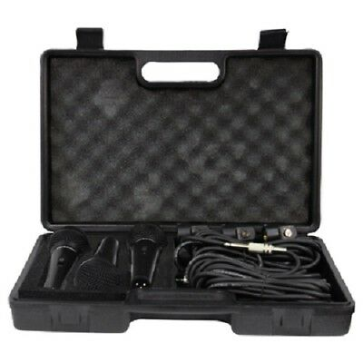 Soundlab Dynamic Premium Vocal Microphone Kit with 3 Microphones, Leads and Case