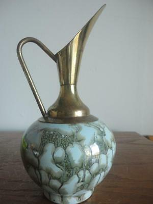 """Beautiful Antique Hand Painted Delft Holland Brass Art Pottery Vase 8""""x4"""""""