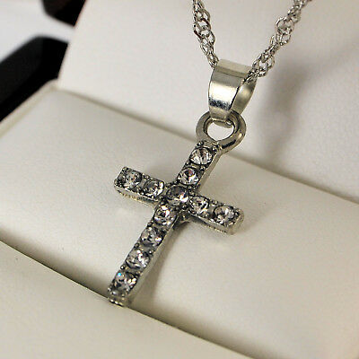 """White Gold Plated Cross Pendant with Clear Crystals & 18"""" Chain Necklace UK -152"""
