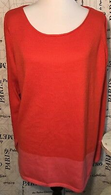 Old Navy Womens XL Maternity Sweater Red Pink Colorblock Long Sleeve NWT