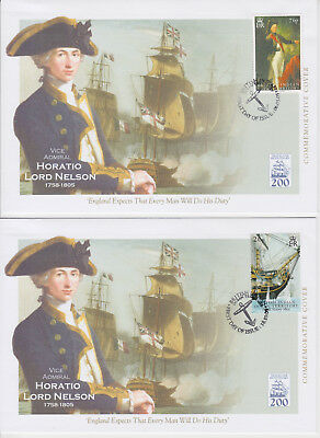 British Indian Ocean Territory Fdc X 2 Battle Of Trafalgar Bicentenary Nelson