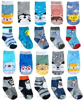New Baby Boy Anti Slip Socks Toddler Kid Cotton 4 Pairs ABS 0-6-12-18-24 months