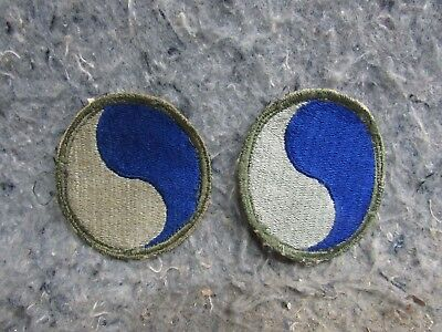 Pair (2) WWII US ARMY 29TH DIVISION PATCHES NORMANDY D-DAY UNIT Green Border