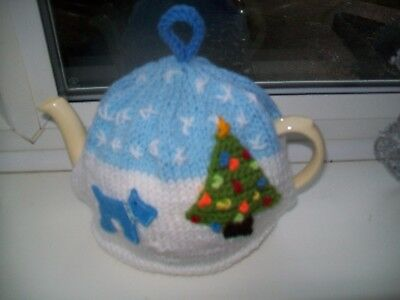Hand Knitted Dog In Garden Tea Cosy For A Medium Teapot 3-4 Cup Size