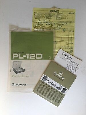 Pioneer PL-12D Stereo Turntable Original Operating Instructions Owners Manual